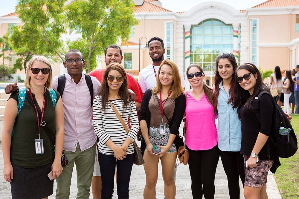 Incoming students meet their Footsteps Buddies - an upperclassman from their program - to help orient them to university life in Grenada.